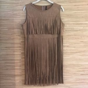 Vegan Suede Fringe Belly Top